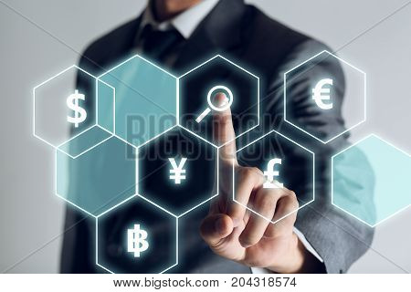 Businessman is searching exchange rate money about internet of thing investment in the future concept. business background