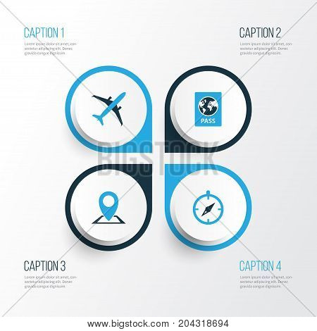 Exploration Colorful Icons Set. Collection Of Map Pin, Airplane, Compass And Other Elements