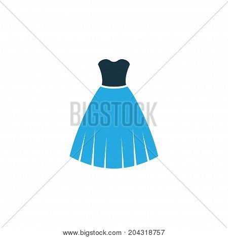 Premium Quality Isolated Dress Element In Trendy Style.  Evening Gown Colorful Icon Symbol.