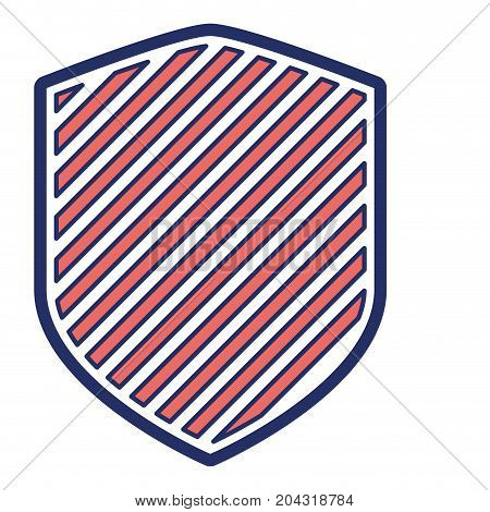 shield in color sections silhouette with stripes vector illustration