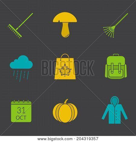 Autumn season glyph color icon set. Silhouette symbols on black backgrounds. Rake, mushroom, rainy cloud, October 31 calendar, pumpkin, raincoat, autumn shopping. Negative space. Vector illustrations