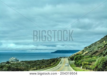 Overcast sky over Pacific Coast Highway. California USA