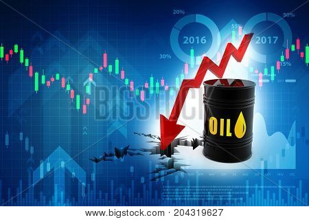 Oil Barrels with falling oil price graph. 3d render