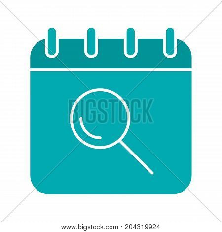Search in calendar glyph color icon. Calendar page with loupe. Silhouette symbol on white background. Negative space. Vector illustration