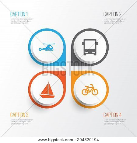 Transport Icons Set. Collection Of Yacht, Bicycle, Omnibus And Other Elements