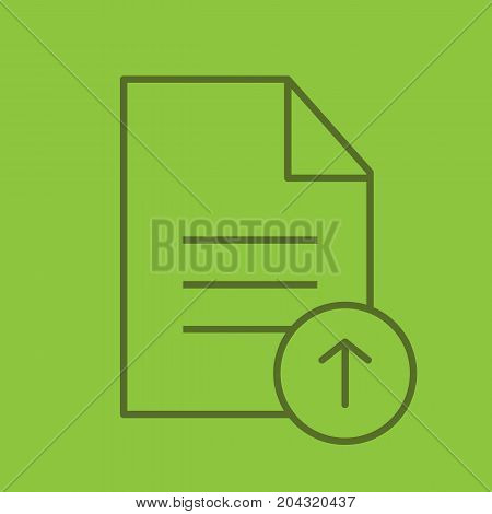 Upload document linear icon. Text file with upload arrow. Thin line outline symbols on color background. Vector illustration