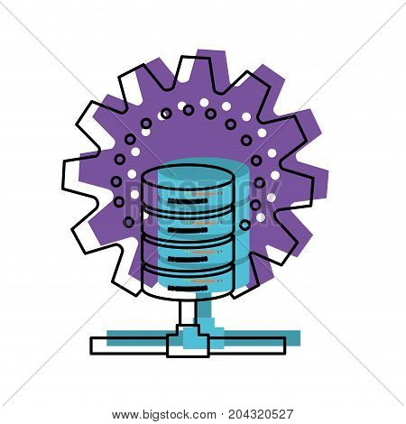 data base center in watercolor silhouette vector illustration