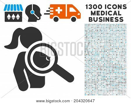 Find Prostitute grey vector icon with 1300 doctor business symbols. Set style is flat bicolor light blue and gray pictograms.