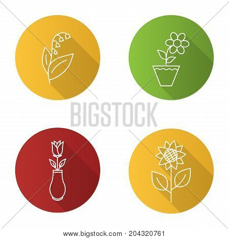 Flowers flat linear long shadow icons set. Lily of the valley, crocus in flowerpot, rose in vase, sunflower. Vector outline illustration