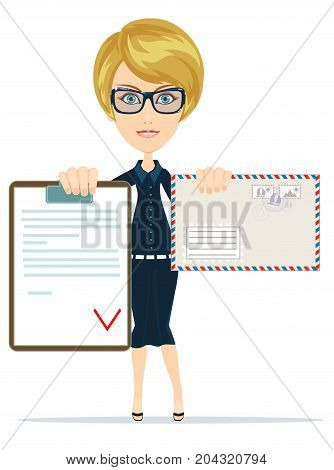 Woman holding a Contract Agreement and envelope. Stock flat vector illustration.
