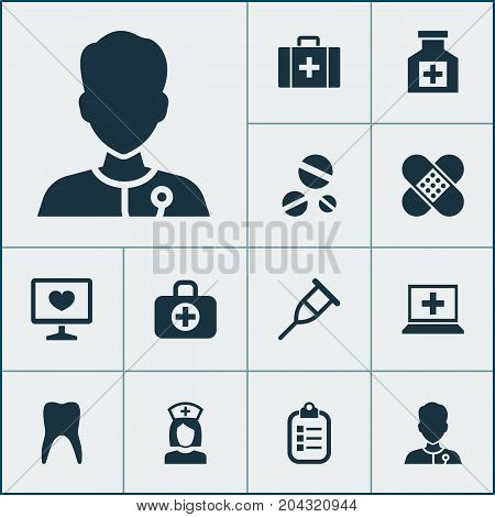 Medicine Icons Set. Collection Of Diagnosis, Bandage, Stand Elements