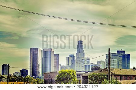 Skyscrapers in downtown Los Angeles in California