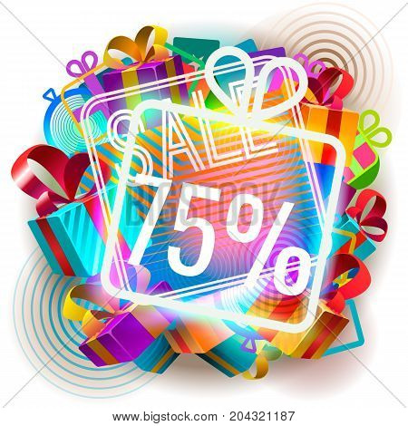 Colorful sale announcement. Vector illustration of colorful illuminated abstract seventy five per cent sale.