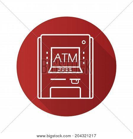 ATM machine flat linear long shadow icon. Bank cash machine. Vector outline symbol