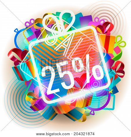 Colorful sale announcement. Vector illustration of colorful illuminated abstract twenty five per cent sale.