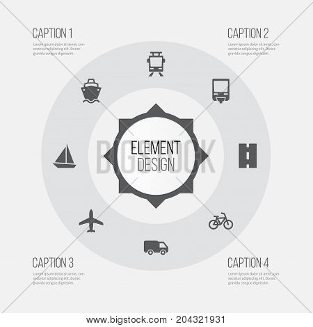 Shipment Icons Set. Collection Of Way, Aircraft, Yacht And Other Elements
