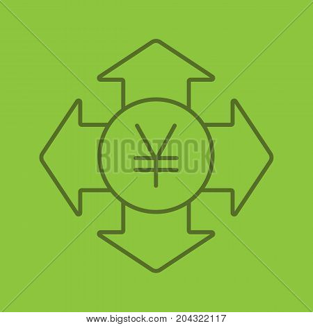 Money spending linear icon. Expanses. Japanese yen with all direction arrows. Thin line outline symbols on color background. Vector illustration