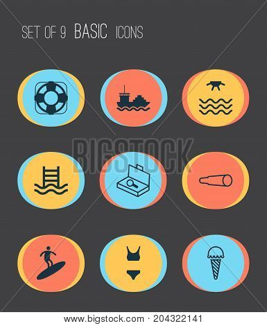 Tourism Icons Set. Collection Of Sunrise, Bathing Costume, Sea Rescue And Other Elements