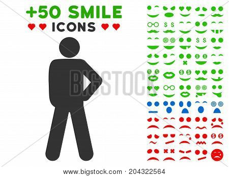 Audacity Pose pictograph with colored bonus smiley design elements. Vector illustration style is flat iconic symbols for web design, app user interfaces, messaging.