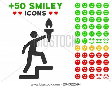 Climbing Leader With Torch icon with colored bonus emoticon icon set. Vector illustration style is flat iconic symbols for web design, app user interfaces, messaging.