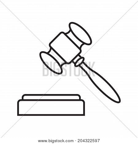 Gavel linear icon. Thin line illustration. Court hammer. Auction bid. Contour symbol. Vector isolated outline drawing