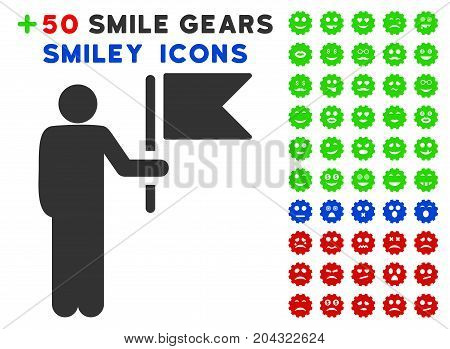Commander With Flag pictograph with colored bonus smiley design elements. Vector illustration style is flat iconic elements for web design, app user interfaces, messaging.