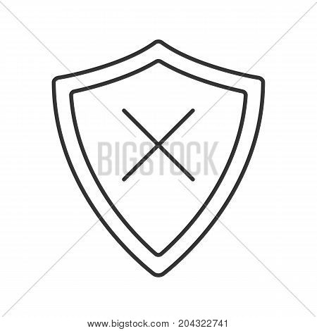 Security linear icon. Thin line illustration. Protection shield with cancel cross. Contour symbol. Vector isolated outline drawing