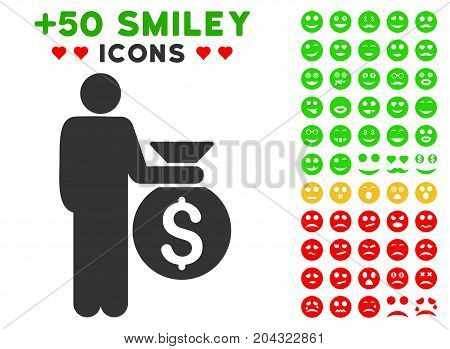 Investor icon with colored bonus emotion pictograph collection. Vector illustration style is flat iconic symbols for web design, app user interfaces, messaging.