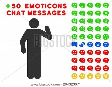 Opinion Pose icon with colored bonus emotion pictograph collection. Vector illustration style is flat iconic elements for web design, app user interfaces, messaging.