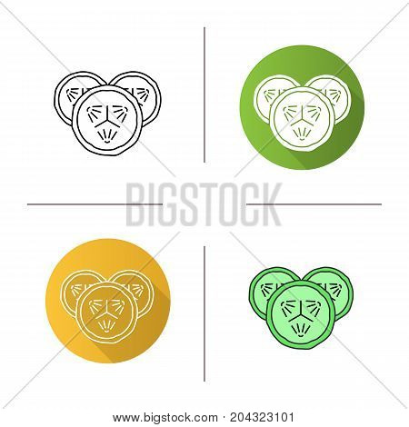 Cucumber slices icon. Flat design, linear and color styles. Spa. Cucumber facial mask. Isolated vector illustrations