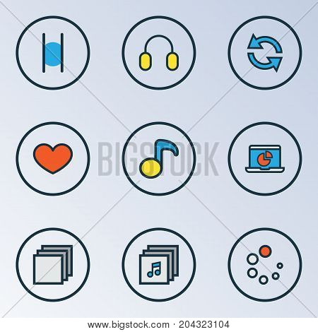 Media Colorful Outline Icons Set. Collection Of Waiting, Earmuff, Music And Other Elements