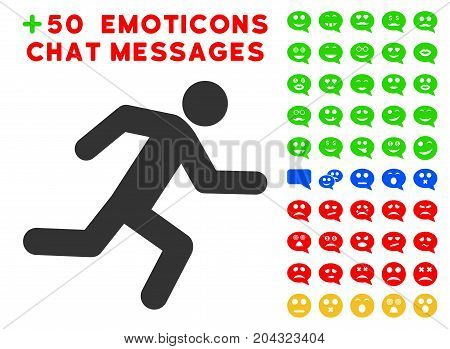 Running Man pictograph with colored bonus smile pictograms. Vector illustration style is flat iconic symbols for web design, app user interfaces, messaging.