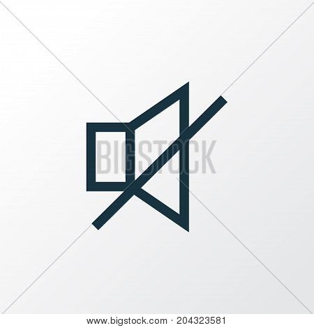 Premium Quality Isolated Mute Element In Trendy Style.  Sound Off Outline Symbol.