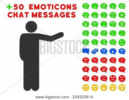 Showing Man pictograph with colored bonus emoticon clip art. Vector illustration style is flat iconic symbols for web design, app user interfaces, messaging.