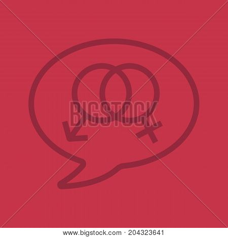 Talk about sex linear icon. Chat box with interlocked man and woman signs inside. Thin line outline symbols on color background. Vector illustration