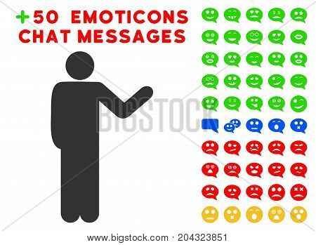 Talking Man pictograph with colored bonus emoticon pictograms. Vector illustration style is flat iconic symbols for web design, app user interfaces, messaging.
