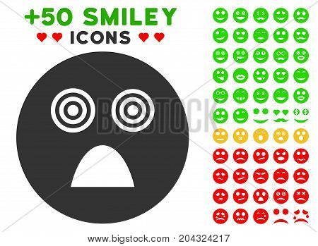 Crazy Smiley icon with colored bonus avatar symbols. Vector illustration style is flat iconic elements for web design, app user interfaces, messaging.