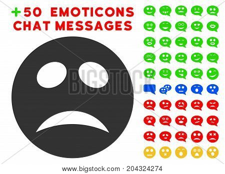 Depression Smiley icon with colored bonus facial pictograph collection. Vector illustration style is flat iconic symbols for web design, app user interfaces, messaging.