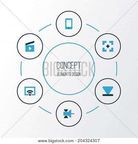 Music Colorful Icons Set. Collection Of Bottom, Target, Communication Antenna And Other Elements