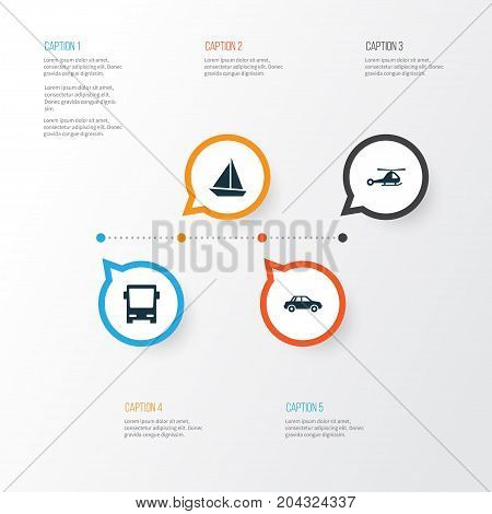 Shipment Icons Set. Collection Of Chopper, Automobile, Yacht And Other Elements