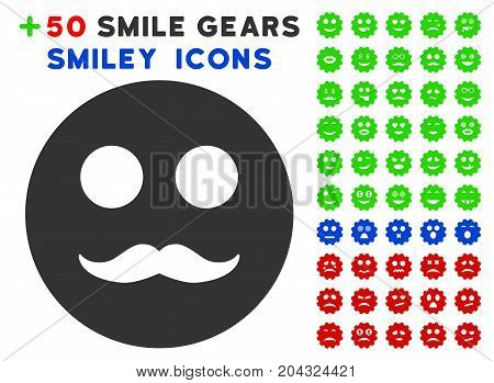 Gentleman Smiley pictograph with colored bonus smiley pictograms. Vector illustration style is flat iconic elements for web design, app user interfaces, messaging.