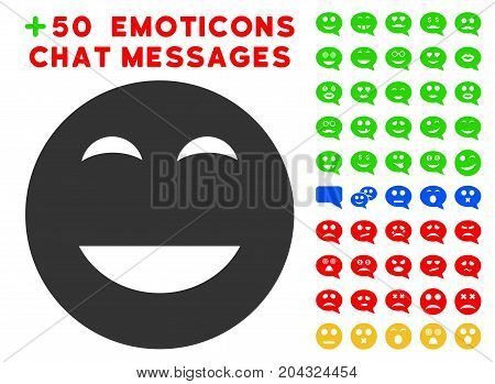 Glad Smiley icon with colored bonus mood graphic icons. Vector illustration style is flat iconic symbols for web design, app user interfaces, messaging.