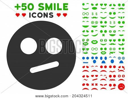 Indifferent Smiley icon with colored bonus emotion design elements. Vector illustration style is flat iconic symbols for web design, app user interfaces, messaging.