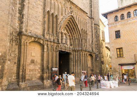 The Basilica De Santa Maria Del Pi 14Th Century In The Gothic Quarter Of The City. Barcelona, Spain
