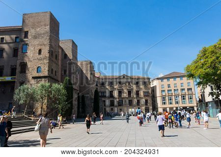 Panorama Of Ancient Roman Gate And Placa Nova, Barri Gothic Quarter, Barcelona, Catalonia, Spain