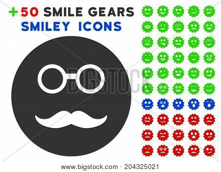 Pension Smiley icon with colored bonus mood pictures. Vector illustration style is flat iconic elements for web design, app user interfaces, messaging.