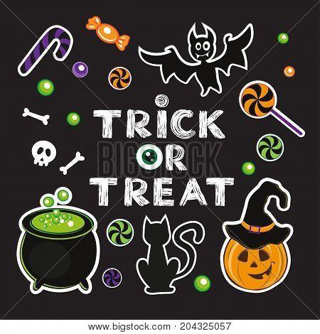 Calligraphy lettering trick or treat on a black background. Halloween card with pumpkin and candy