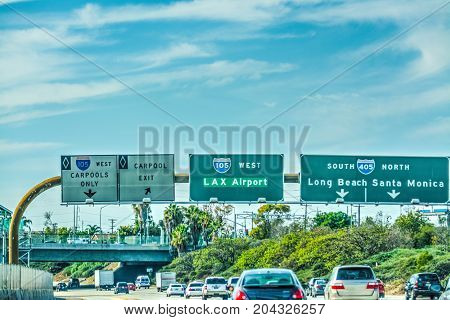 LAX exit sign on 105 freeway. Los Angeles California