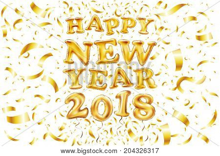 Metallic Gold Letter Balloon, 2018 Happy New Year, Golden Number Alphabet Letter Balloons, Air Fille