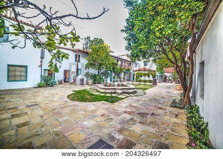 Small square in old town Santa Barbara California